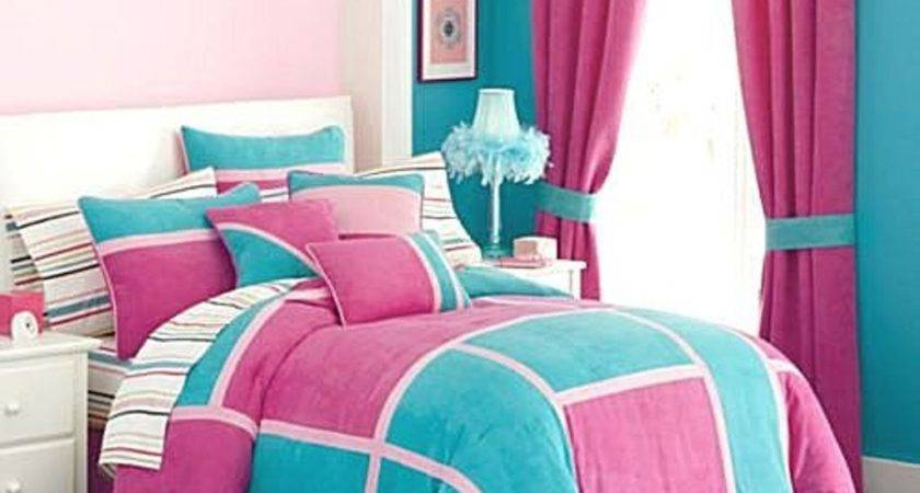 Pink Ruffled Curtain Turquoise Accent Wall Modern