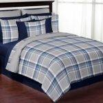 Plaid Navy Blue Gray Comforter Set Piece