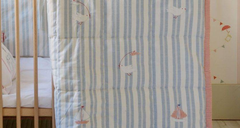 Playmat Cotbed Quilt True Blue Birds Boats Susie