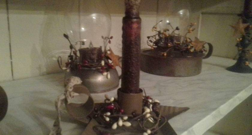 Primitive Country Star Candle Holder Grubby Flickering