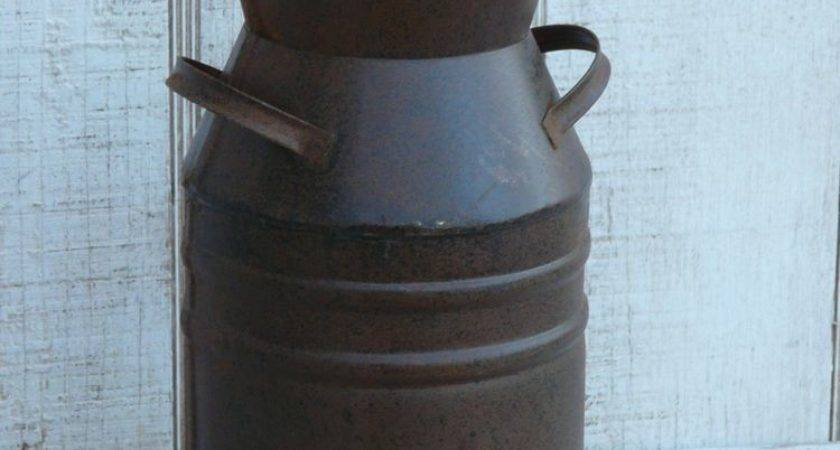 Primitive Rustic Small Metal Old Fashioned Milk Can