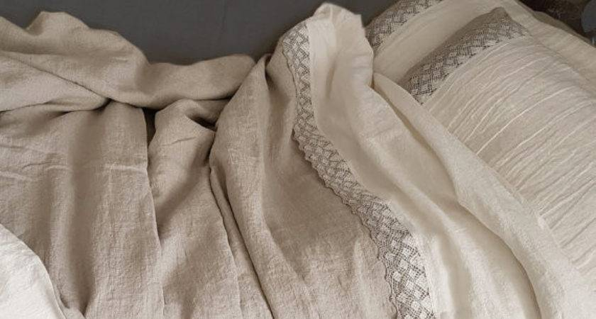 Pure Linen Bedding Set Lace Stonewashed Medium