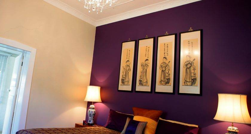 Purple Bedroom Feature Wall Home Design
