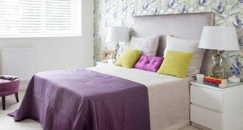 Purple Bedroom Green Floral Feature Wall