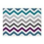 Purple Blue Grey Chevron Pattern Area Rug