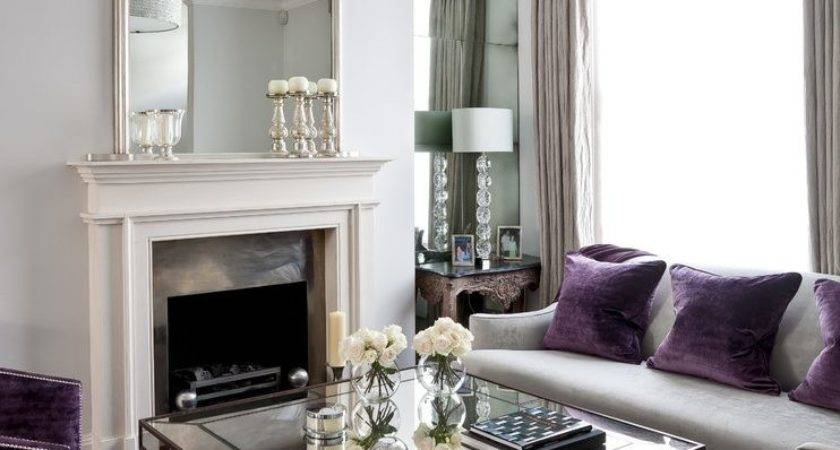 Purple Cream Bedroom Transitional Room Silver