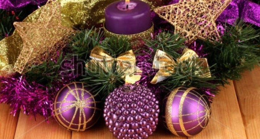Purple Gold Christmas Decorations