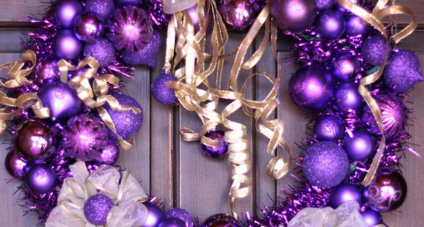Purple Gold Christmas Wreath White Lights Holiday