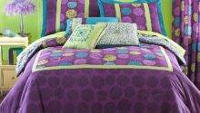 Purple Green Bedding Bedroom Interior Designing