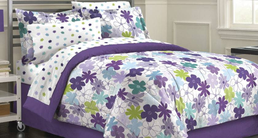 Purple Green Floral Daisy Girls Bedding Twin Queen
