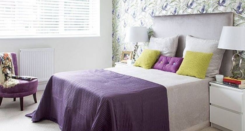 Purple Green Modern Bedroom Decorating Housetohome