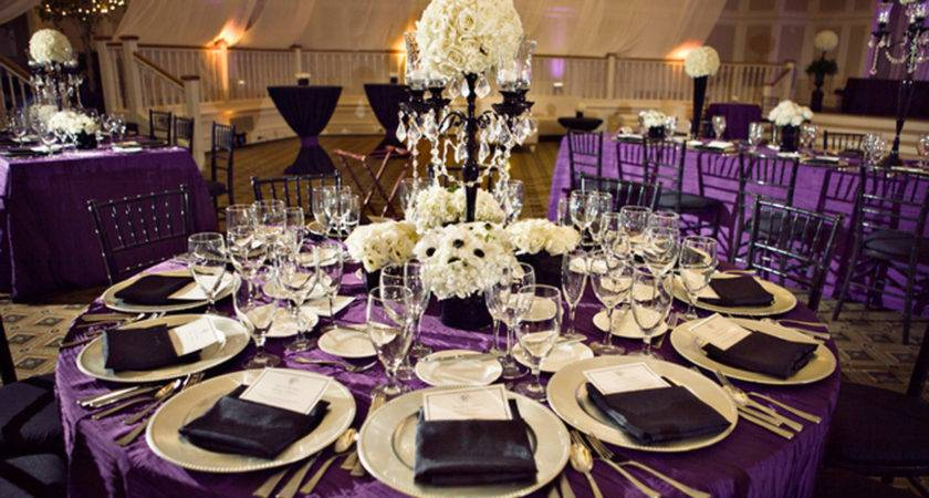Purple Table Decoration White Flowers Wedding Party
