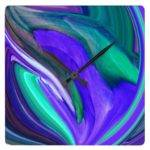 Purple Teal Abstract Wall Clock Zazzle