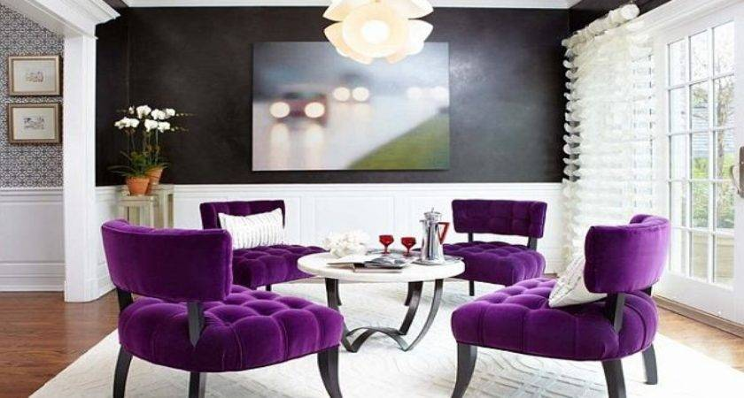 Purple White Living Room Modern House