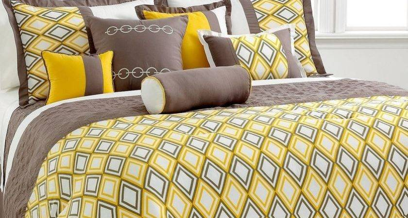 Queen King Yellow Grey Beige Comforter Set Coverlet