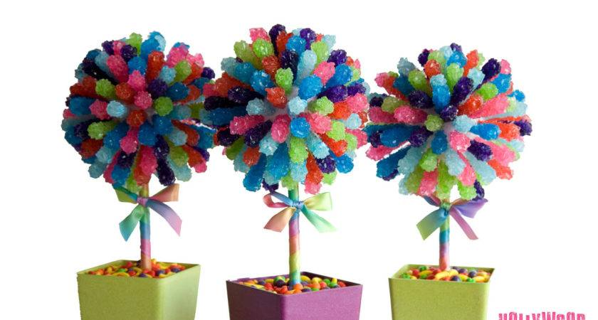 Rainbow Rock Candy Centerpiece Topiary Tree Buffet