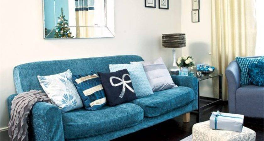 Recover Your Sofa Festive Teal Silver Living Room