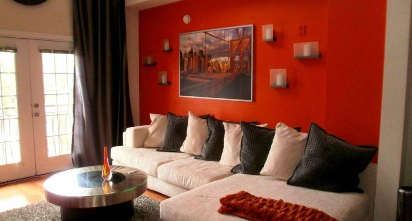 Red Accent Wall Living Room Peenmedia