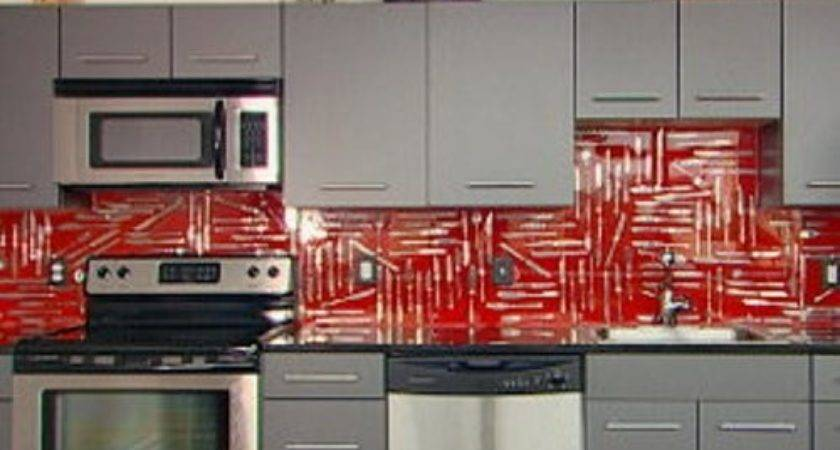 Red Backsplash Kitchen Tile Design