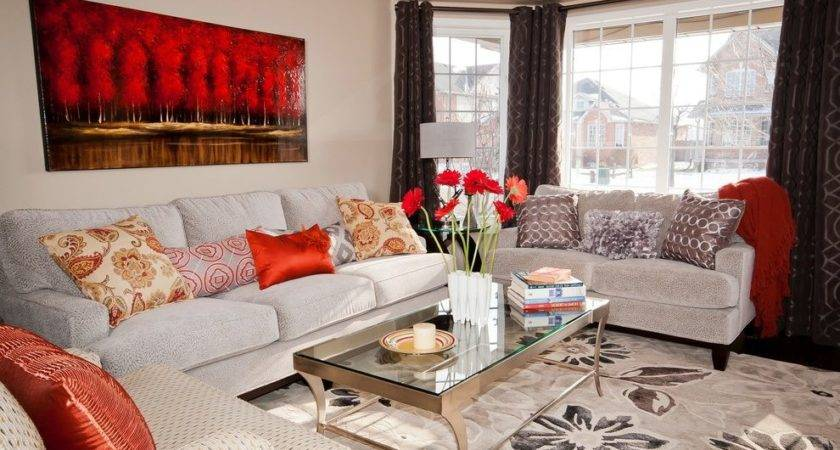Red Beige Living Room Traditional