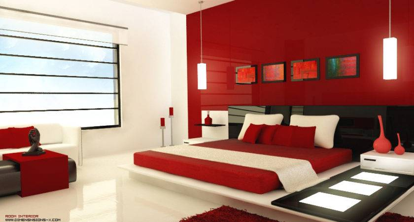 Red Black Bedroom Design Interior