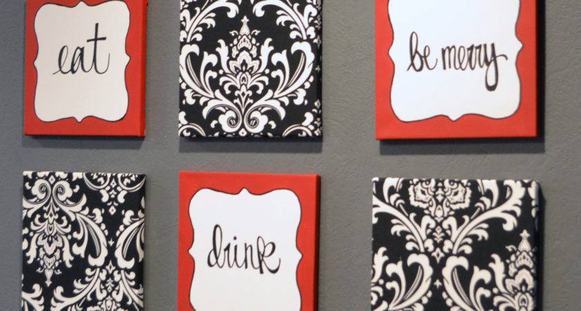 Red Black Damask Eat Drink Merry Chef Wall Decor Set