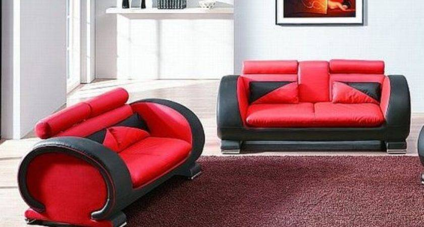 Red Black Leather Sofas Striking Luxurious