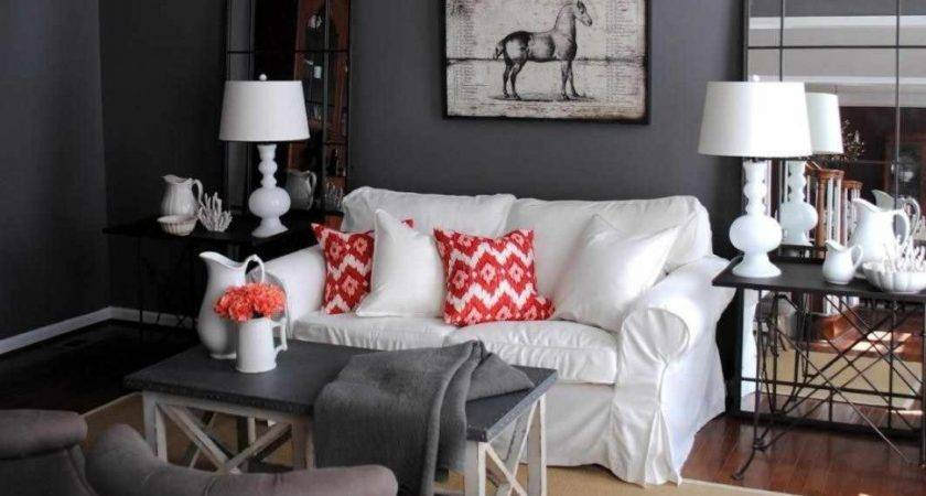 Red Black Living Room Decorating Ideas Grey