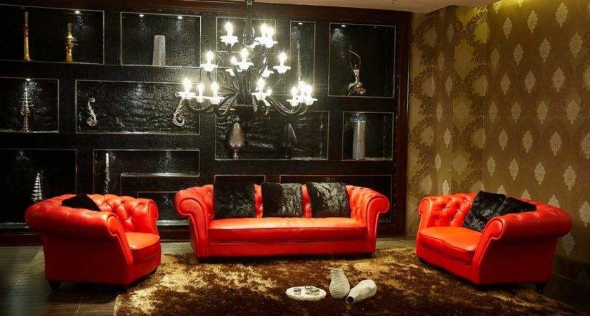 Red Black Living Room Decoration Design Ideas