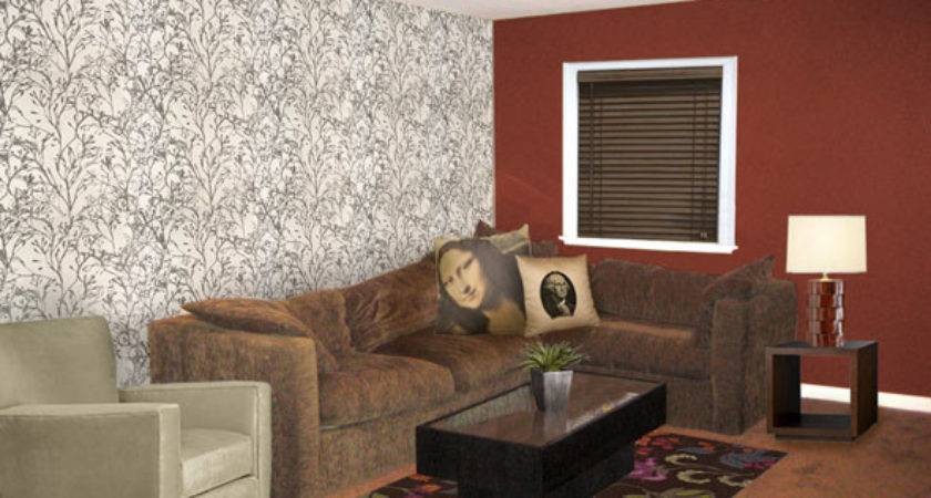 Red Brown Living Room Modern House