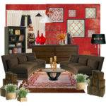 Red Brown Living Room Polyvore
