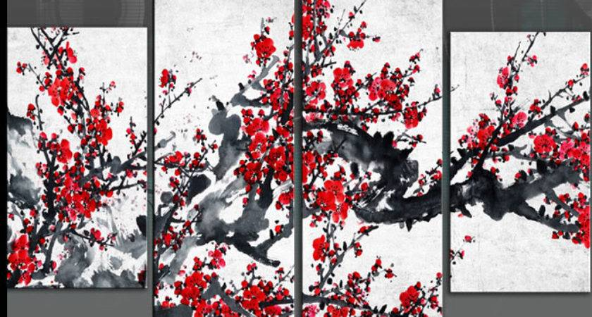 Red Chinese Blossom Tree Split Panel Canvas Wall Art