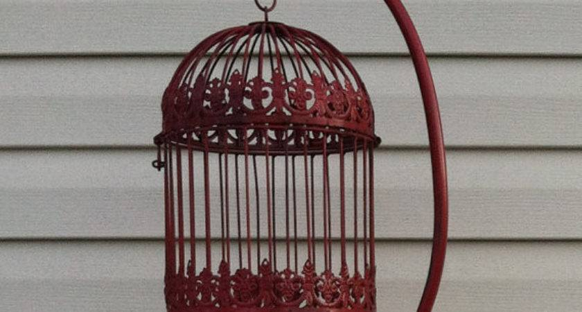 Red Feet Tall Hanging Bird Cage Stand