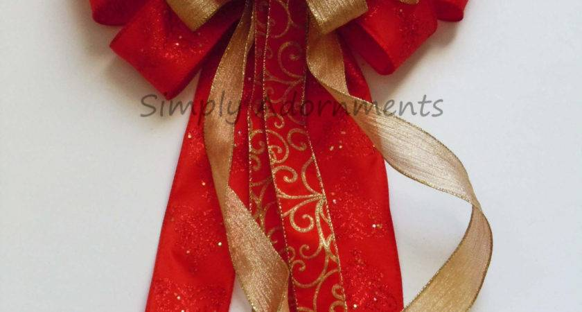 Red Gold Christmas Bow Tree Topper