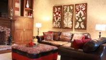 Red Gold Formal Living Room Traditional