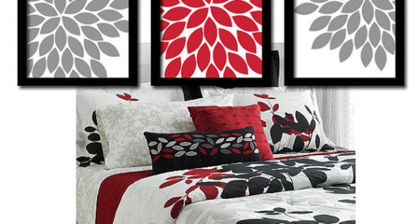 Red Gray Wall Art Bedroom Canvas Prints