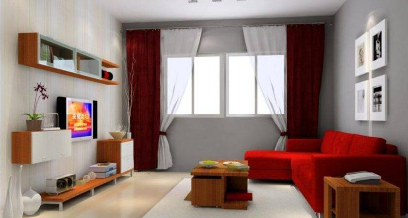 Red Grey Living Room Walls Modern House