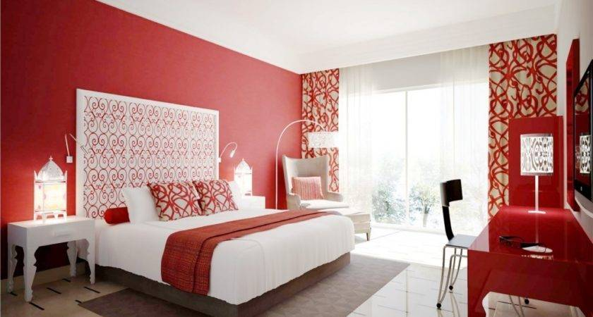 Red Interior Bedroom Wall Design