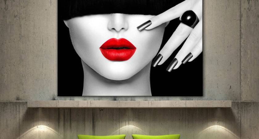 Red Lips Face Modern Canvas Home Fine Wall Art Prints