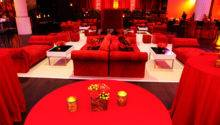 Red Lounge Furniture Sat Atop White Carpet Main