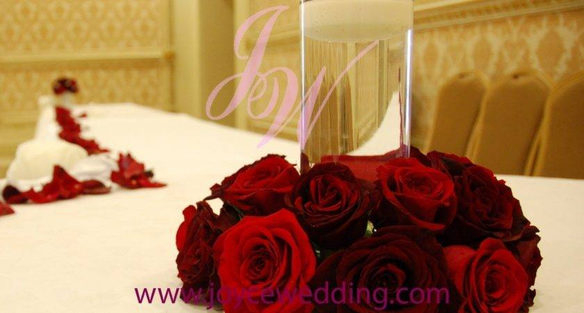 Red Roses Candle Centerpieces Joyce Wedding