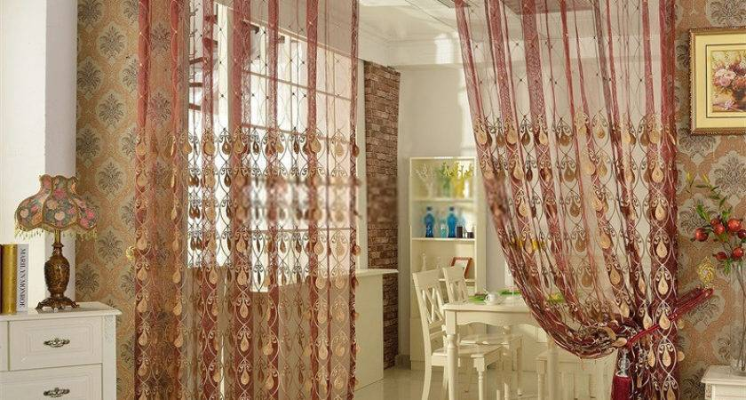 Red Sheer Curtains Classic Living Room Design