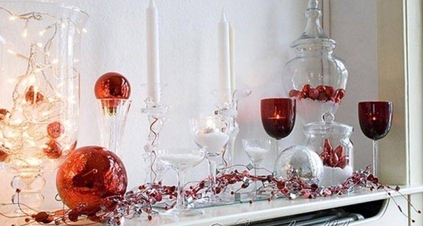 Red Silver Christmas Decorating Ideas Mantel