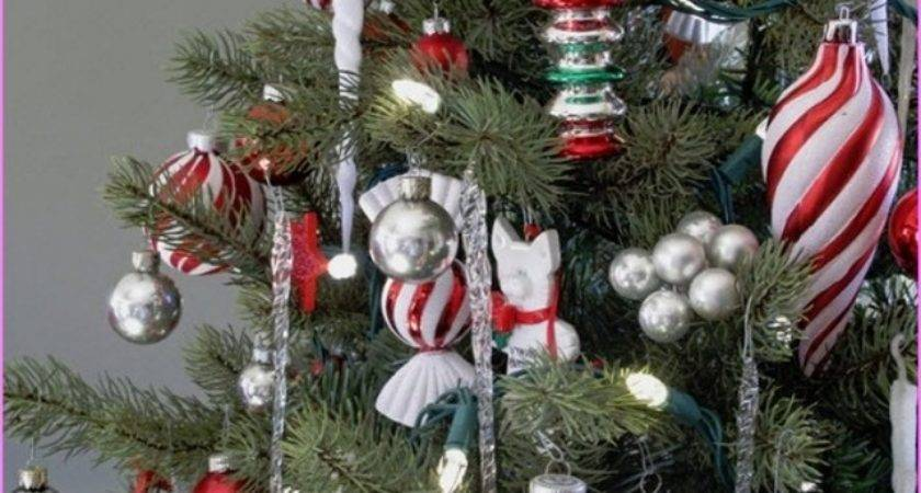 Red Silver Christmas Tree Decorations Gold
