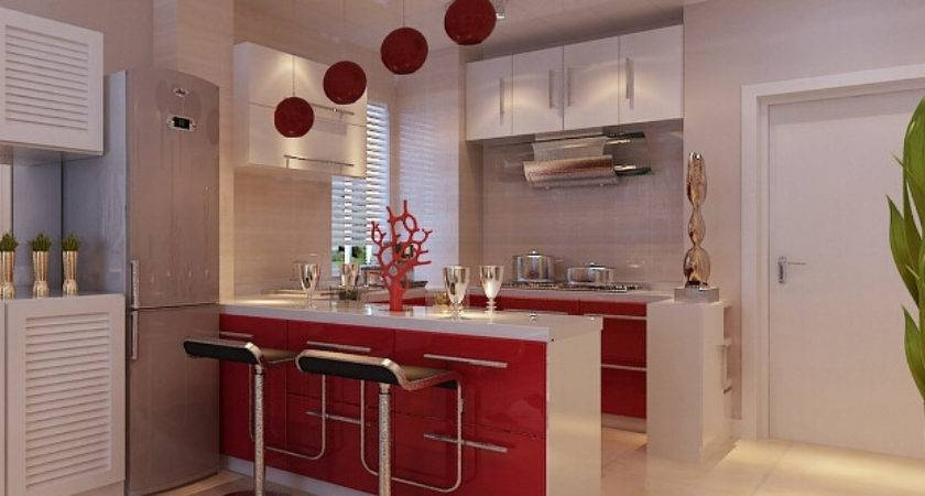 Red Style Bar Counter Design