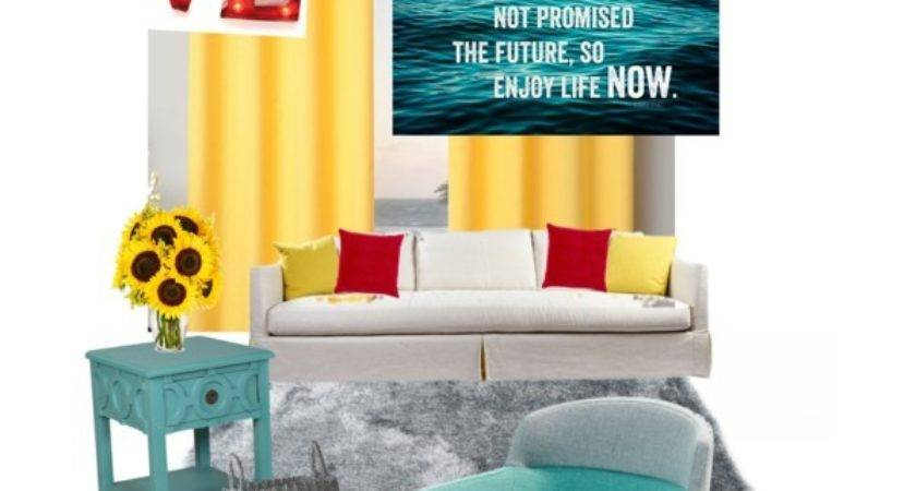 Red Teal Yellow Living Room Polyvore