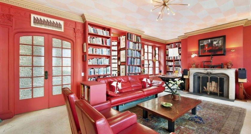 Red Wall Color Ideas Living Room Walls Bookcase