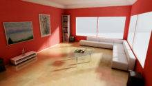 Red Wall Livingroom Interior Design Ideas