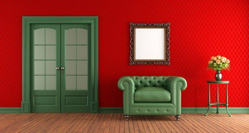 Red Walls Green Sofa Living Room House