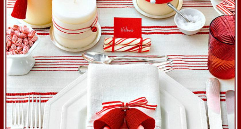 Red White Table Setting Ideas Simple Christmas